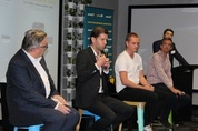 Ned Moorfield,CEO & Founder, goCatch, Jon Rout, Innovation Manager, Commonwealth Bank, Ayal Steiner, General Manager ANZ, Outbrain and Prof. Dr. Lawrence Wallen, Head of Design, UTS, 2 November 2015
